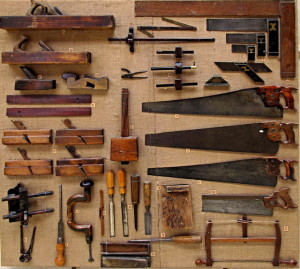 18th and 19th century English joiner's tool kit from The Wealden Museum, West Sussex